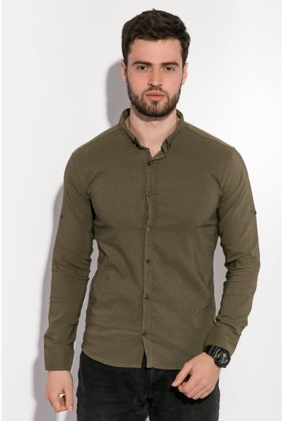 Рубашка мужская приталенная хлопковая цвет хаки 511F005