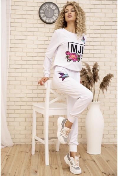 Женский костюм двунитка Свитшот и штаны цвет Белый 167R21-3 53437