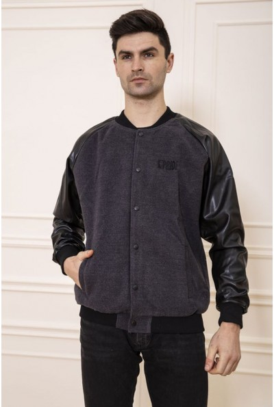 Серо-черная короткая мужская куртка 131RPR-031
