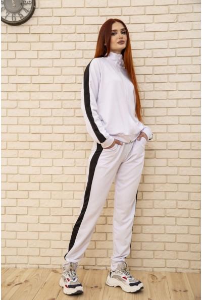 Спортивный костюм женский на змейке однотонный с лампасами Белый 103R240 48495