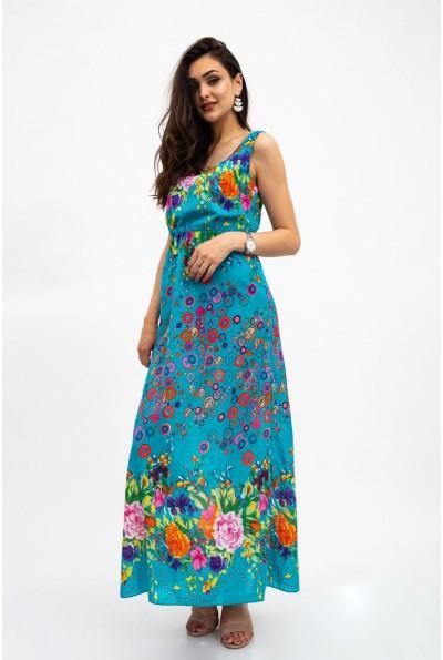 Сарафан женский голубой с декором вензеля 115R207-1