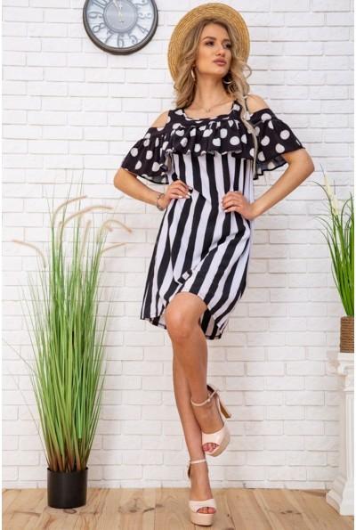 Стильное, летнее, платье женское,комбинированнаярасцветка, черно-белое 104R0004 33126
