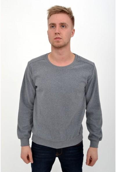 Тонкий мужской свитер серого цвета с круглым вырезом 116R007