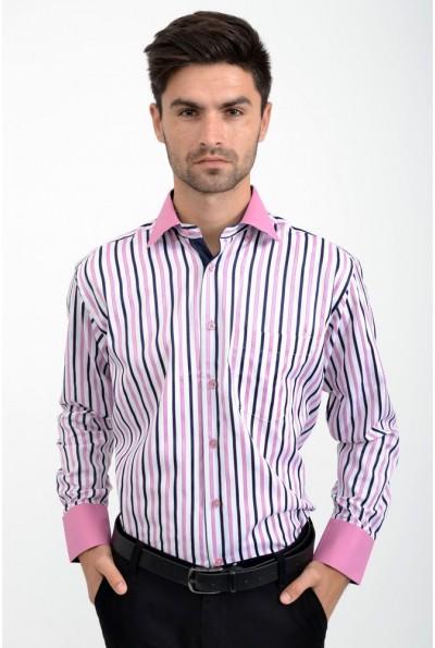 Рубашка мужская бело-розовая в полоску 9022-4