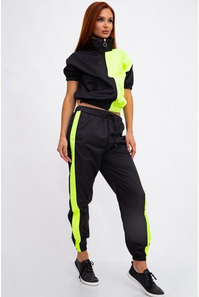 Стильный спортивный костюм женский, черно-желтый 103R2002