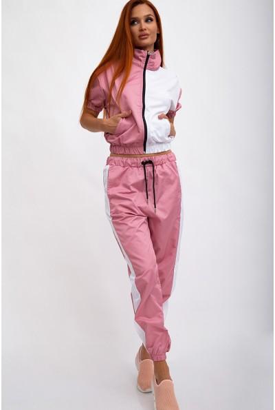 Спортивный костюм женский, плащевый, летний, розовый с белым 103R2002