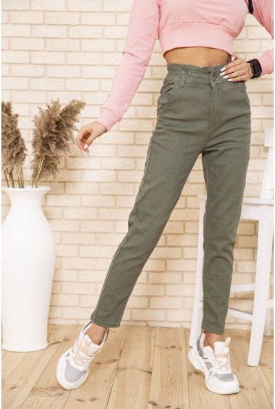 Женские джинсы МОМ на резинке цвета хаки 164R170