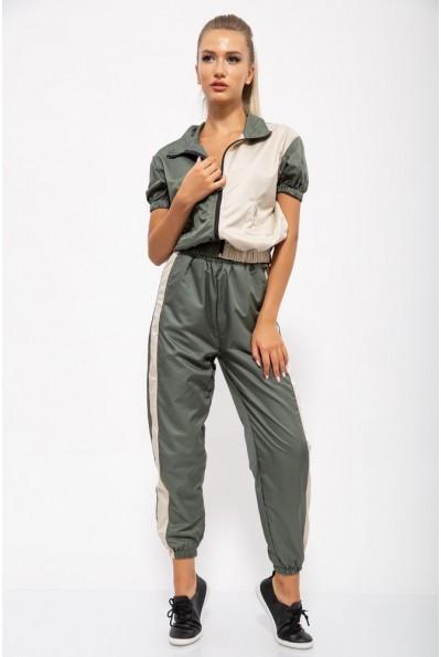 Спорт костюм женский 103R2002 цвет Зелено-бежевый