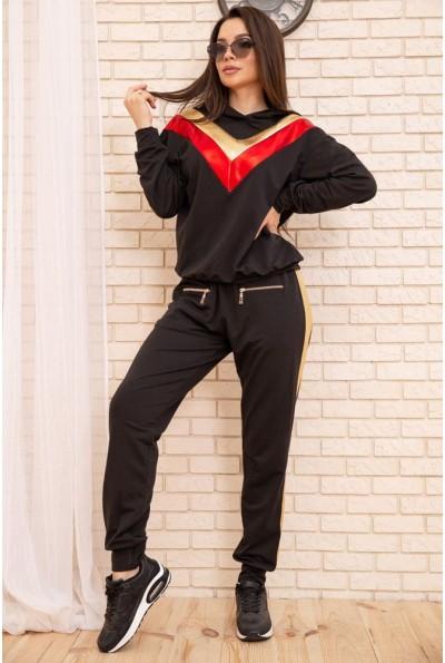 Спортивный женский костюм большой размер 50-52-54-56 цвет Черный 104R113