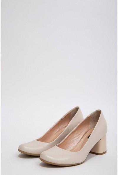 Кожаные туфли женские с круглым носком цвет Бежевый 148R001 37108