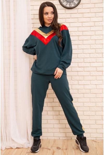 Спортивный женский костюм большой размер 50-52-54-56 цвет Зеленый 104R113