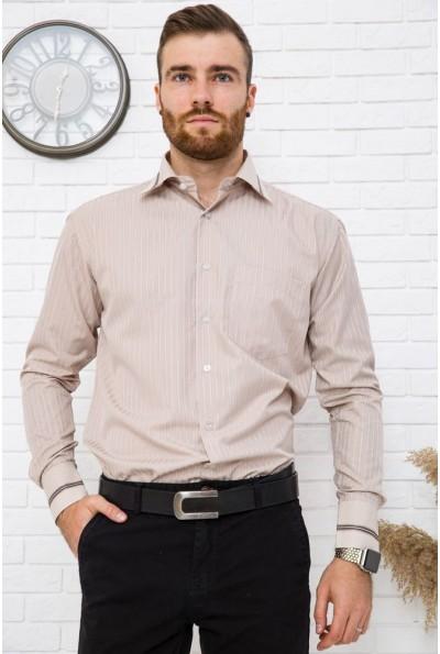 Бежевая рубашка мужская в клетку для офиса 5-9060-15
