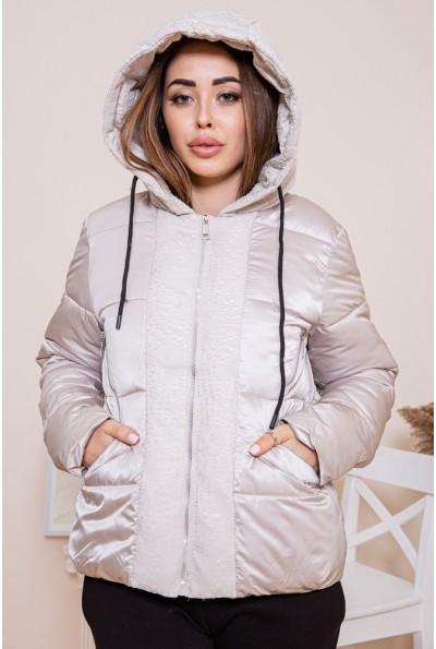 Короткая дутая куртка для женщин бежевого цвета 129R1091-5
