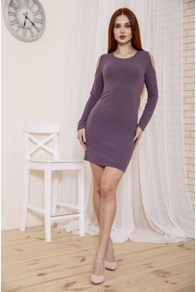 Трикотажное платье с открытыми плечами фиолетового цвета 153R1076