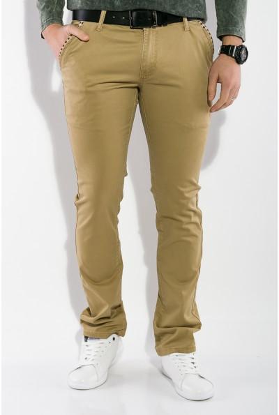 Песочные брюки мужские однотонные, хлопковые с косыми карманами 19PL171