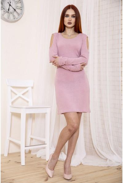 Розовое приталенное платье с открытыми плечами 153R1076