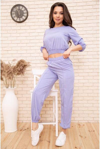 Повседневный женский костюм укороченный свитшот и джоггеры Голубой 119R366 54790