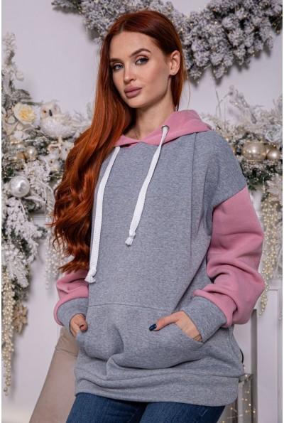 Худи женский 102R101 цвет Серо-розовый