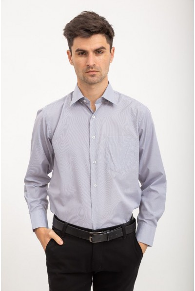 Рубашка мужская классическая серо-белая для офиса и важных событий 3#L-S