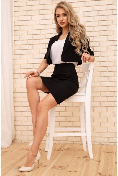 Женский костюм укороченный жакет и юбка карандаш Черный 167R1830 56311