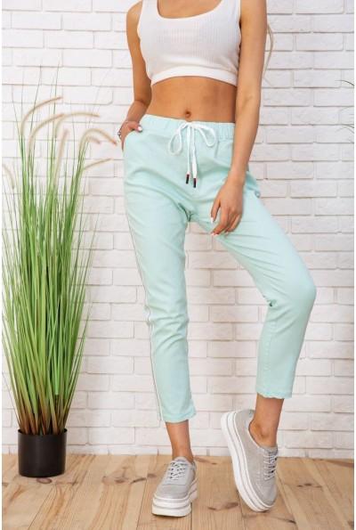 Летние хлопковые женские штаны на резинке цвет Мятный 129R0218-5 57334