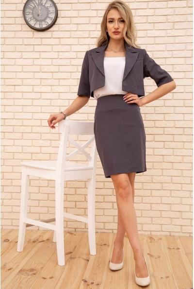Женский костюм укороченный жакет и юбка карандаш Серый 167R1830 56307