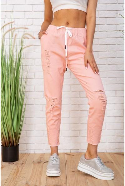 Летние хлопковые женские штаны на резинке цвет Персиковый 129R0211-3 57229
