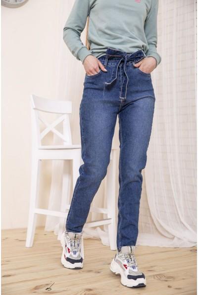 Женские джинсы с завышеной талией синего цвета 129R698