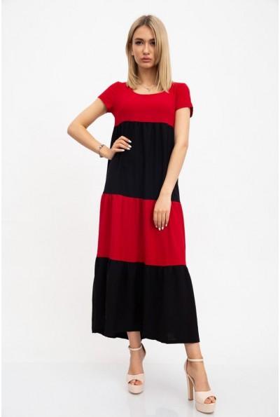 Платье летнее, длинное, полосатое красно-черное 119R282