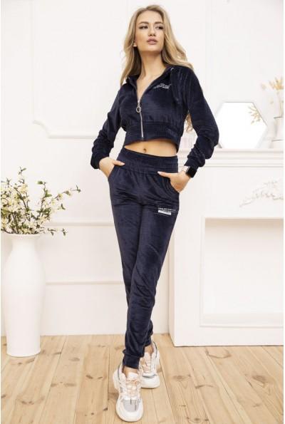 Женский велюровый спортивный костюм укороченный Синий 119R356 53030