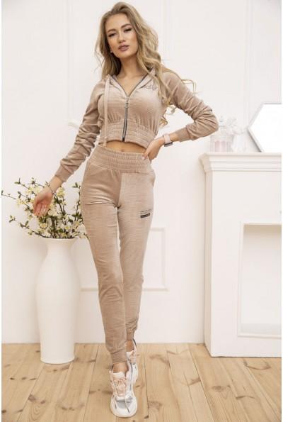 Женский велюровый спортивный костюм укороченный Бежевый 119R356 53028