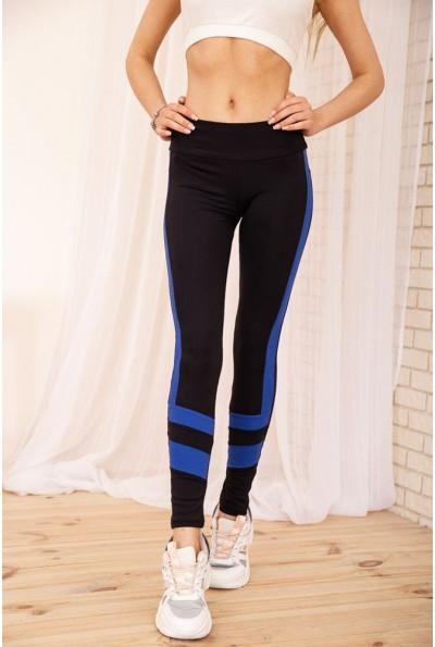 Черные лосины для спорта с неоновыми вставками цвет Синий 172R014