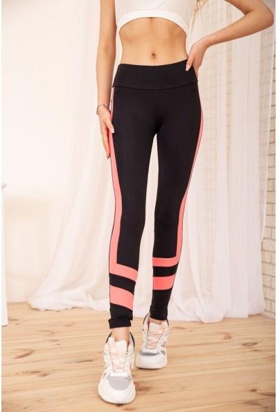 Черные лосины для спорта с неоновыми вставками цвет Розовый 172R014 55627