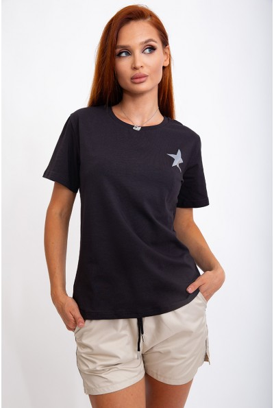 Костюм женский, футболка и шорты, черно-бежевый 103R2007
