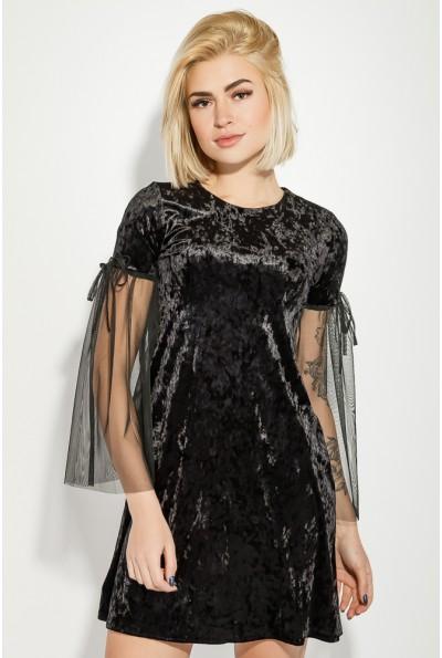 Платье женское приталенное велюровое, с гипюром вечернее 115RPD236 Черное