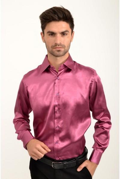 Рубашка шелковая цвет фуксия 113RPass003 9318