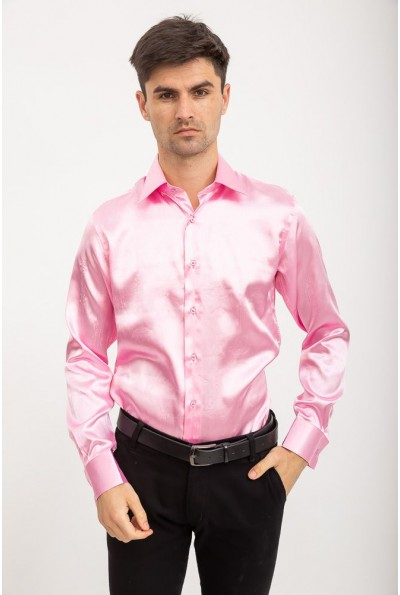 Мужская праздничная рубашка под запонку 113RPass003 цвет Розовый 10195
