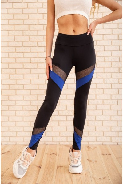 Спортивные лосины со вставками из сетки цвет Черный с синим 172R012