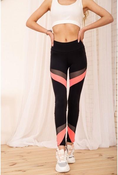 Спортивные лосины со вставками из сетки цвет Черный с розовым 172R012