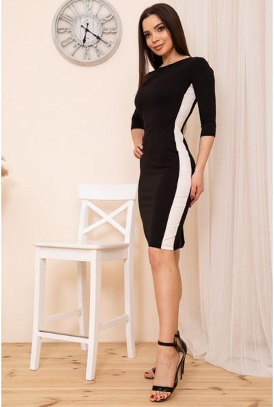 Облегающее платье с контрастными лампасами цвет Черный 167R34-3