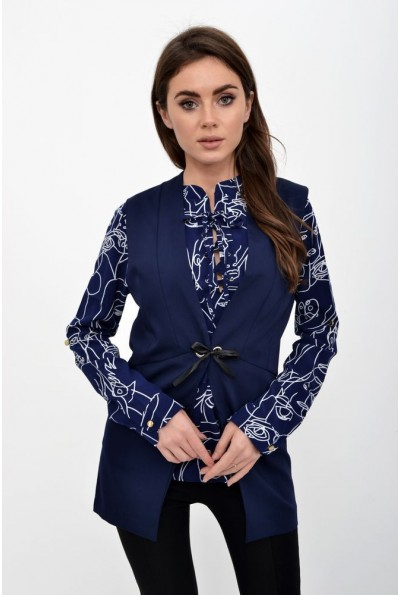 Темно-синий жилет- кардиган женский, офисный  115R339