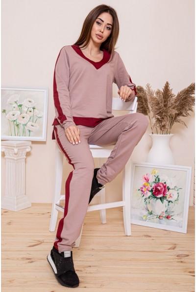 Повседневный женский костюм цвета мокко с бордовыми лампасами 102R147 45928