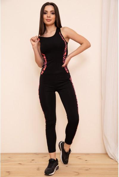 Женский спортивный костюм майка и лосины цвет Черно-розовый 129R200-3 53937