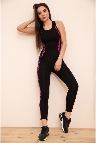 Женский спортивный костюм майка и лосины цвет Черно-розовый 129R200-3 53935