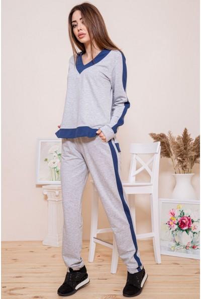 Хлопковый женский костюм серо-синего цвета 102R147 45930
