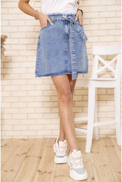 Джинсовая юбка с поясом синего цвета 129R028-142