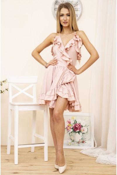 Короткое летнее платье на бретелях с рюшами Пудровое 104R1295