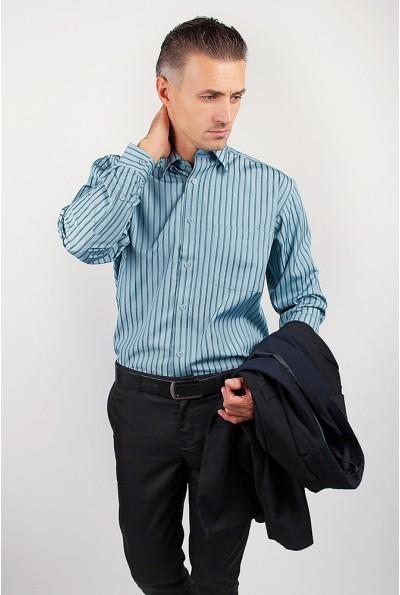 Рубашка мужская голубая в полоску AG-0002185 цвет Петроль