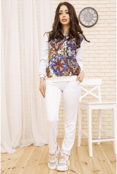 Белый женский костюм повседневный Свитшот и штаны 167R22