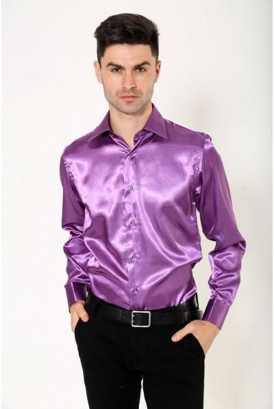 Рубашка сиреневая из атласной ткани 113RPass26